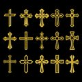 Big set of vector cross, collection of design elements for creating logos. Christian symbols.