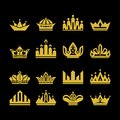 Big set of vector crowns, collection of design elements for creating logos.