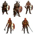 Big set of viking warriors with shields and swords and axes isolated realistic illustration.