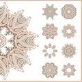 Big set of vintage circular ornaments. Vintage decorative elements. Set of beautiful ethnic, oriental ornaments. Stylized flowers. Royalty Free Stock Photo