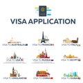 Big set Visa to the country. Australia, France, Italy, USA, Russia, Egypt, England, China, Dubai. Document for travel. Vector flat Royalty Free Stock Photo