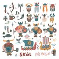 Big Set withmany hand drawn flat vikings, faces, equipment and ships in cartoon style. Funny  illustration for kids. Viking Royalty Free Stock Photo