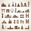 Big set of world landmarks and historic buildings Royalty Free Stock Photo