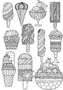 Big set of zendoodle design of ice cream for design element, adult or kids coloring book page. Vector illustration.