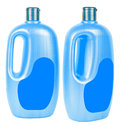 Big shampoo containers isolated two blue plastic with dark blue caps on white background Royalty Free Stock Photography