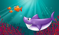 A big shark and three nemos under the sea illustration of Royalty Free Stock Photography