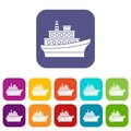 Big ship icons set Royalty Free Stock Photo