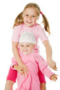 Big sister, little sister hugging Royalty Free Stock Photography