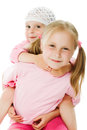 Big sister, little sister hugging Royalty Free Stock Photos