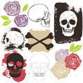 Big skull grunge set Royalty Free Stock Photo