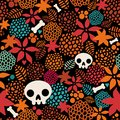 Big skulls and flowers seamless background beautiful vector texture Stock Photography