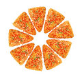 Big sliced pizza Royalty Free Stock Photography