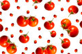 Big and small tomatos on white background Stock Images