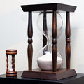 Big and small wooden sand clock two old antique Royalty Free Stock Photography