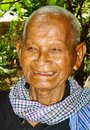 Big smile elderly cambodian gentleman with huge Royalty Free Stock Image