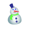Big snowman with a green scarf