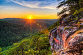 Big south fork river gorge sunset tennessee summer of the cumberland as seen from the east rim in the national and recreation Stock Images