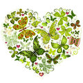 Big spring grunge heart made of green butterflies vector Stock Photography