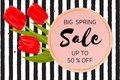 Big Spring sale background with beautiful flowers.