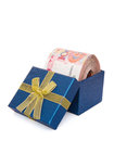 Big stack of RMB in a blue present box Royalty Free Stock Photo