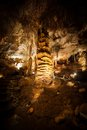 Big Stalagmite column Formations in the Cave Stock Photo