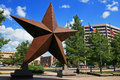 Big star decorated in austin town texas jul against blue sky on july texas usa capital city of texas state Stock Images