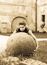 Big stone ball Stock Photography