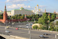 Big stone bridge grand kremlin palace towers of kremlin ivan great bell in moscow russia rare view from house on embankment Royalty Free Stock Images