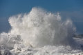 Big stormy wave sea crashing against a pier from the north of portugal Stock Image