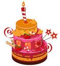 Big strawberry birthday cake Royalty Free Stock Photos