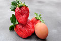 Big strawberry, giant size Royalty Free Stock Photo