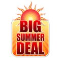 Big summer deal in label with sun banner text yellow red and orange sunrays business concept Stock Images