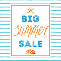 Big summer sale banner template, hand drawn letterig element, seashell, sea star, frame Royalty Free Stock Photo