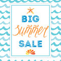 Big summer sale banner template, hand drawn letterig element, seashell, sea star, frame, waves Royalty Free Stock Photo