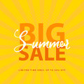 Big Summer Sale sign with retro pop art halftone background. Vector web banner template illustration Royalty Free Stock Photo