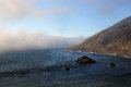 Big sur california overview of on highway on a foggy day Royalty Free Stock Images