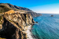 Big sur drive is a sparsely populated region of the central coast of california where the santa lucia mountains rise abruptly from Royalty Free Stock Images