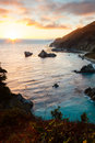 Big sur sunset in julia pfeiffer burns state park california Royalty Free Stock Image