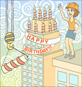 Big surprise celebrate construction vector illustration Royalty Free Stock Photos
