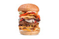 Big tasty double hamburger burger isolated on white Royalty Free Stock Photo