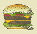 Big and tasty hamburger grunge style Stock Images