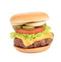 Big tasty hamburger isolated on a white background Stock Photos