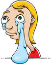 Big tear a cartoon girl crying a great Royalty Free Stock Photos