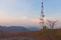 Big telecommunication tower on the mountain Stock Images