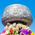 Big thai Silver Bowl. Royalty Free Stock Images