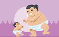 Big and tiny Sumo wrestler Royalty Free Stock Image