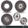 Big tires illustration of realistic with rims vector images Stock Photo