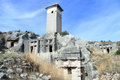 Big tomb and ruins in ksanthos turkey Stock Photography