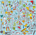 Big tools collection numerous fine small hand drawn illustrations individual icons grouped version illustration eps mode Stock Images