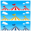 Big top circus tent banners collection of three with or in three different colors Stock Photography